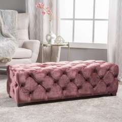 Christopher Knight Home Provence Blush New Velvet Rectangular Ottoman