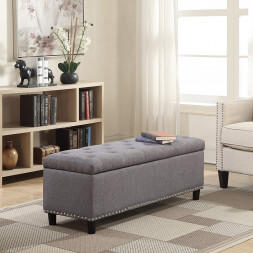 Rectangular Gray Storage Fabric Ottoman Bench Tufted Footrest Lift Top