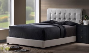 R2R TUFTED BLACK FAUX LEATHER BED DESIN